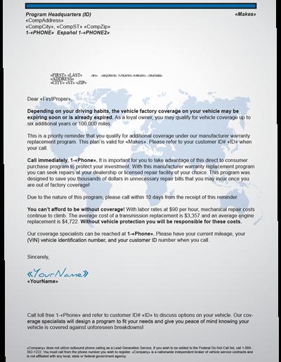 Auto Warranty Letter
