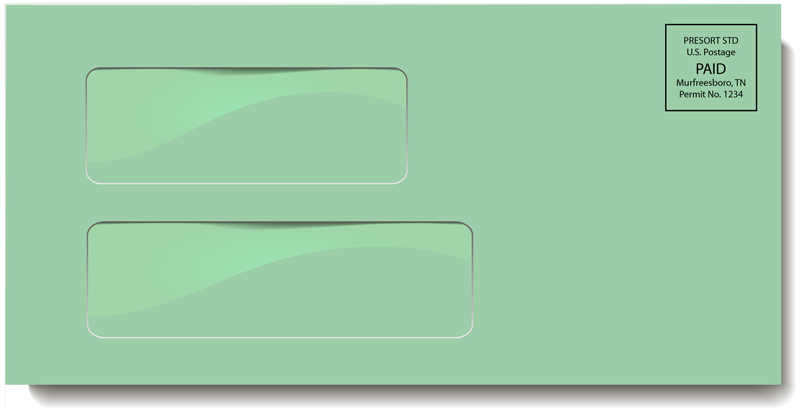 Green Double Window Envelope