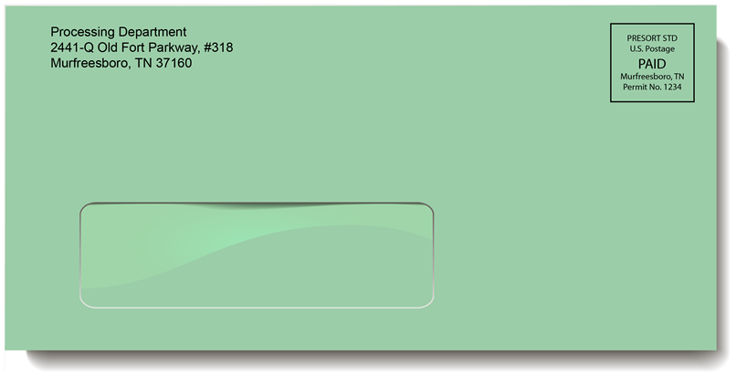 Green Single Window Envelope